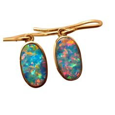 Oval Opal earrings in Yellow gold inlaid with extremely bright and lively Red and Blue Opals. Opal Earrings, Opal Jewelry, Drop Earrings, Gold Shorts, Australian Opal, Blue Opal, Opals, Red And Blue, Bright