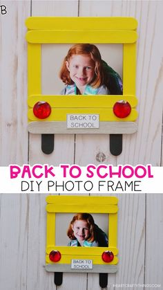 Cherish first day of school memories with this darling DIY back-to-school photo frame made from craft sticks. Fun and easy back-to-school crafts for kids and back-to-school activities. Craft How to Make a DIY Back to School Photo Frame School Photo Frames, School Photos, First Day School Pictures, Photo Frames Diy, First Day At School Frame, Photo Frames For Kids, Photo Kids, Picture Frame Crafts, Picture Frames