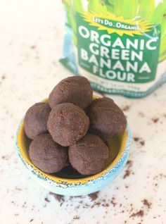 Happy Belly Brownie Bites! You'd never guess that these luscious, super chocolaty Brownie Bites are made with organic green banana flour, a resistant starch that helps promote a happy, healthy gut microbiome!   This no-bake recipe takes less than 5 minutes to make and is vegan, gluten free, and grain free