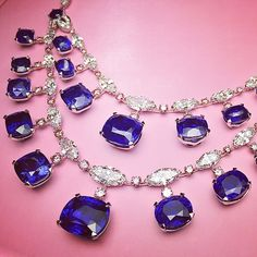 Important #Ceylon/Madagascar #Sapphire necklace with pink and white diamonds. Total Sapphire weight: 175cts