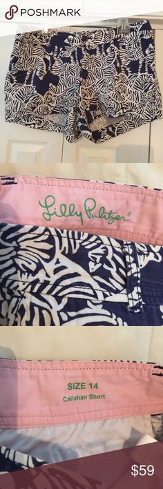 "Lilly Pulitzer Callahan Shorts Lilly Pulitzer bright navy ""I Herd You"" Callahan shorts. Size 14. Excellent condition! Super fast shipping on all my items! Offers are welcome by using the blue offer button! No trades! Bundle discount! Lilly Pulitzer Shorts"