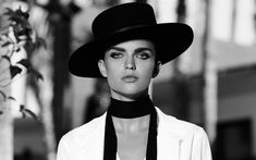 Download wallpapers Ruby Rose, actress, black and white portrait, Australian fashion model, black hat