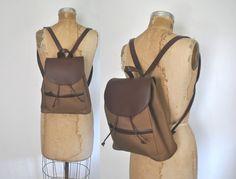 L.L Bean Leather Nylon Backpack Bookbag / knapsack by badbabyvintage on Etsy