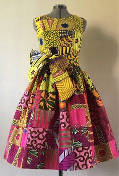 Feminine African Print Patchwork Yellow Pink Gradient Cotton Dress With Pockets and O… – African Fashion Dresses - African Styles for Ladies African Fashion Ankara, African Inspired Fashion, African Print Fashion, Ghanaian Fashion, African Dresses For Kids, African Print Dresses, African Prints, African Attire, African Wear