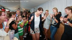 Andrea Petkovic busted a move at a boxholder appreciation visit. Several other WTA stars looked on.