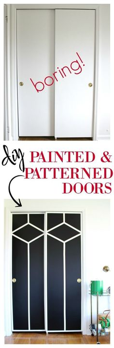 Stunning - AND she did it with paint and FrogTape! DIY Painted and Patterned Doors / Black and White Design / Black and White Decor / Interior Design #interiordesigntips