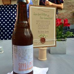 Invitation and beer brewed for the wedding