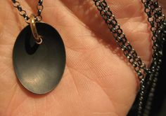 PIERCED necklace_long chain and pendant  - pierced with 14ct gold   Handmade by Karina Hunnerup  www.hunn.me