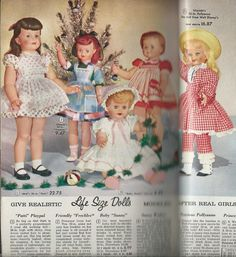 """1964 Aldens featuring: Ideal Patti Playpal, Uneeda 32"""" Friendly FRECKLES,  29"""" Baby SUNNY, Ideal Saucy, and Uneeda PollyAnna"""