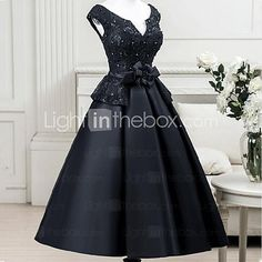 2017 Cocktail Party Dress A-line Notched Tea-length Satin with Flower(s) / Sash / Ribbon 2017 - $109.99
