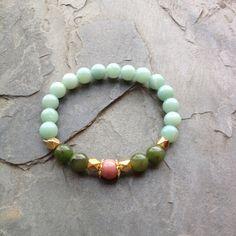 The Heart Chakra ~ Guan Yin Inspired ~ Genuine Rhodonite, Jade & Amazonite ~ Positive Energy