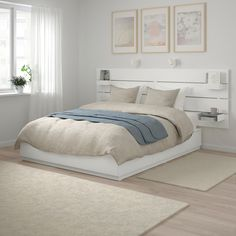 NORDLI Bed with headboard and storage, white, King. Ample storage space is hidden neatly under the bed in 6 large drawers. Perfect for storing quilts, pillows and bed linen.