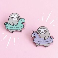 Sloth enamel pin Enamel pins Unicorn gifts pool float Cute