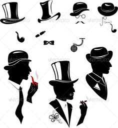 Men Silhouettes Smoking Cigar and Pipe #GraphicRiver