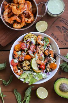 Grilled Red Curry Shrimp Bowls with Squash and Basil Yogurt Sauce