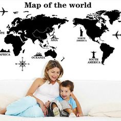World Map Black Wall Stickers For Kids Rooms Study Room Removable Waterproof Adhesive Wall Art Decals Home Decor