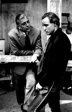Marlon Brando, Jacques Tati on the set of One Eyed Jacks, 1960.