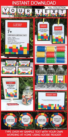 Free printable lego building blocks birthday invitation kids lego party printables invitations decorations filmwisefo