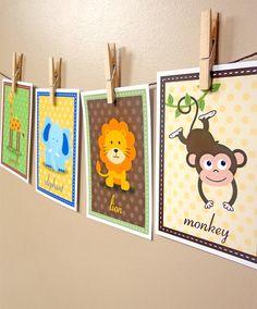Set of 4 Safari Zoo Animal, Forest Friends, Farm Animals Nursery Artwork Prints