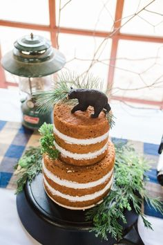 Cake from a Rustic Camping Birthday Party via Kara's Party Ideas | KarasPartyIdeas.com (44)