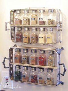 DIY Spice rack out of vintage serving trays