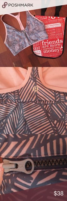 Lululemon Sports Bra This cute zipper sports bra is great to work out in. The blue/grey and light pink colors go perfect together! lululemon athletica Other