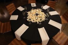 Table Centerpiece for Black, Ivory and Gold Wedding Rose Petals with Floating Candles and Mirrored Table Numbers