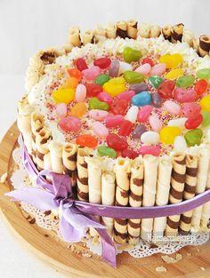 #Tort z rurkami waflowymi #przepis #najsmaczniejsze #cake #urodziny #100lat