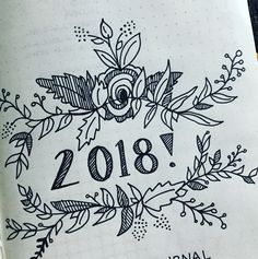 Bullet journal yearly cover page, flower drawings, floral drawings.   @felicia.schlinz