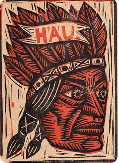 Linocut Hand Printed Postcard Native American by HorseAndHare