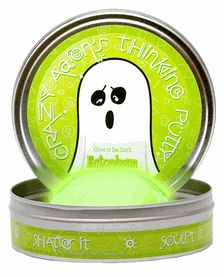 Ectoplasm Glow in the Dark Thinking Putty // Ectoplasm is a paranormal green just like what you might find left behind by spooks, specters and ghosts! In the dark, Ectoplasm glows a vivid speckled green. Translucent and eerie in daylight, it makes a perfect Trick OR Treat!