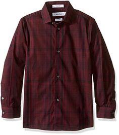 077efd131 Calvin Klein Boys Long Sleeve Conversion Plaid Shirt Dark Purple 16   Want  to know more