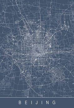 BEIJING CITY MAP Line Art City Map Road by EncoreDesignStudios