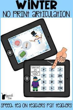 NO PRINT Winter articulation interactive PDF. Want no prep? No problem! Use your computer or iPad to target multiple sounds in all positions as they work through a thematic game. Click for more info.
