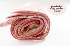 Make a flannel baby blanket with piped edges. Great gift for a new baby!