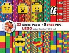 22 x Lego paper + FREE 5 png CLIPART -  Digital paper patterns, Scrapbooking Paper, Instant Download (No. 7)