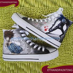 Custom Paint Sneakers Hand Painting Death Note Converse Shoes, Ryuuzaki and Ryuuku Canvas Sneakers for Death Note Fans on Etsy, $95.00