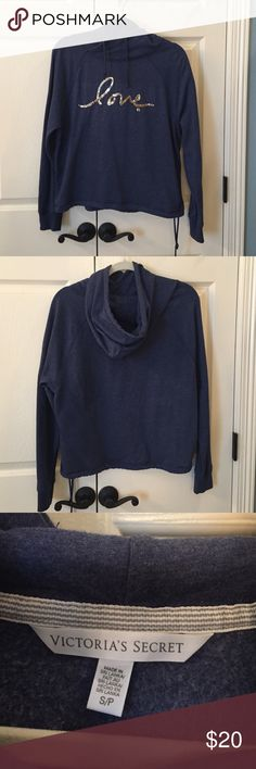Victoria's Secret Hoodie EUC Super cute hoodie!  Drawstring at bottom and around neck. Made of lightweight sweatshirt material. Only worn a few times. No flaws. Victoria's Secret Tops Sweatshirts & Hoodies