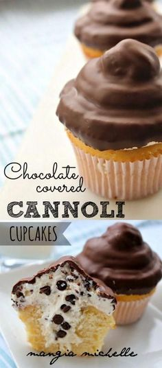Chocolate covered cannoli cupcakes are a delicious and impressive dessert. They are stuffed and iced with cannoli cream and has a chocolate candy shell. Chocolate Desserts, Delicious Desserts, Dessert Recipes, Yummy Food, Chocolate Cupcakes, Cool Cupcake Recipes, Delicious Cupcakes, Chocolate Chocolate, Gastronomia