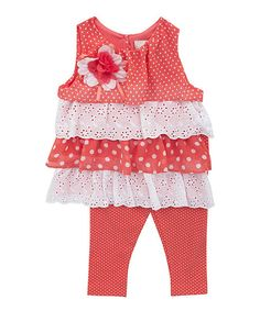 Rare Editions Coral Polka Dot Tunic & Leggings - Infant, Toddler & Girls | zulily