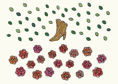 Cowgirl boots & rose illustration