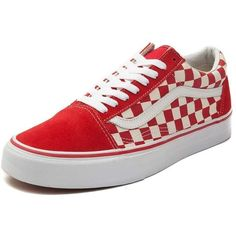 Vans Old Skool Chex Skate Shoe ($99) ❤ liked on Polyvore featuring shoes, sneakers, leather skate shoes, vans trainers, lace up sneakers, lacing sneakers and leather shoes
