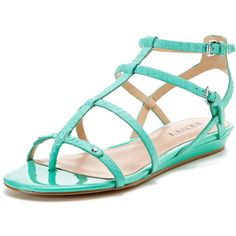 Renvy Demi Gladiator Sandal ($39) ❤ liked on Polyvore featuring shoes, sandals, flats, mint snake leather, gladiator wedge sandals, metallic gladiator sandals, leather wedge sandals, roman sandals and ankle strap sandals