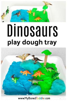 Dinosaur Small World with Play Dough - a fun dinosaur sensory bin activity idea for toddlers and preschoolers Playdough Activities, Dinosaur Activities, Fun Activities For Toddlers, Dinosaur Crafts, Learning Activities, Vocabulary Activities, Baby Activities, Indoor Activities, Toddler Art