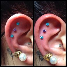 Triple outer conch with prong set gems from NeoMetal ❤️