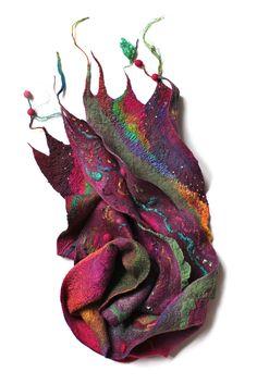 "Superfine Australian merino wool, mulberry silk, silk chiffon fabric, wool yarn, cotton gauze fabric. Length 77 1/4"" (196 cm) Width 8 1/3"" (21 сm) Weight 4,3 oz (122 gm)"