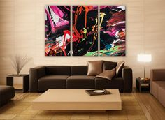 Visual Abstract Art Therapy Canvas Print 3 Panels Print Wall Decor Fine Art Photography Repro Print for Home and Office Wall Decoration by ZellartCo TAGS colorful abstract modern wall art living room art home and living psychedelic art contemporary art abstact art home decor wall art bedroom decor canvas print large canvas