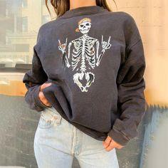 Fashion Skulls Casual Sweatshirts – aromiya Pullover, Crew Neck Sweatshirt, Graphic Sweatshirt, Trend Fashion, Fashion Prints, Women's Fashion, Gothic Fashion, Printed Sweatshirts, Hoodies
