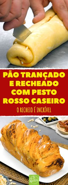 Pão trançado e recheado com pesto rosso caseiro #pesto #pestocaseiro #pestorosso #paotrançado #trançarecheada #paorecheado #paocompesto Bread Recipes, Cooking Recipes, Vol Au Vent, Pan Dulce, How To Make Bread, Hot Dog Buns, Sweet Recipes, Bakery, Food And Drink