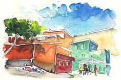 Candelaria 05. Artist:Miki De Goodaboom. Medium:Painting - Watercolour And Ink
